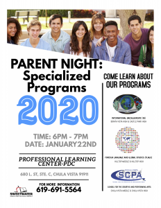 Parent Night: Specialized Programs 2020 flyer - Continue reading for information included in image -  Click for larger version of image